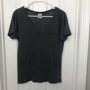 PINK Victoria's Secret Gray V Neck Pocket T Shirt